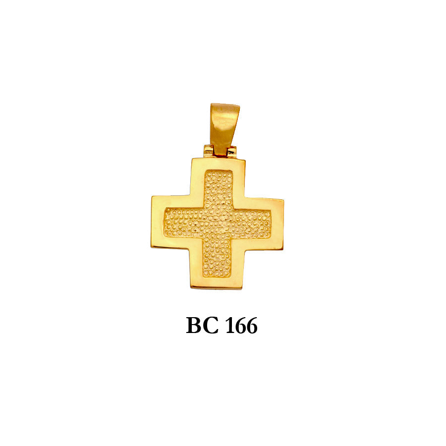 14K Byzantine Solid gold textured modern style cross pendant