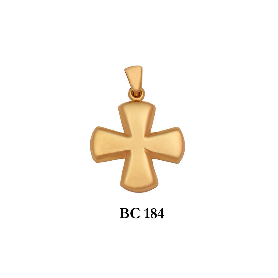 14K byzantine style graceful polished solid gold cross pendant