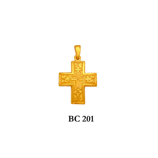 14K Byzantine style hand engraved solid gold cross pendant