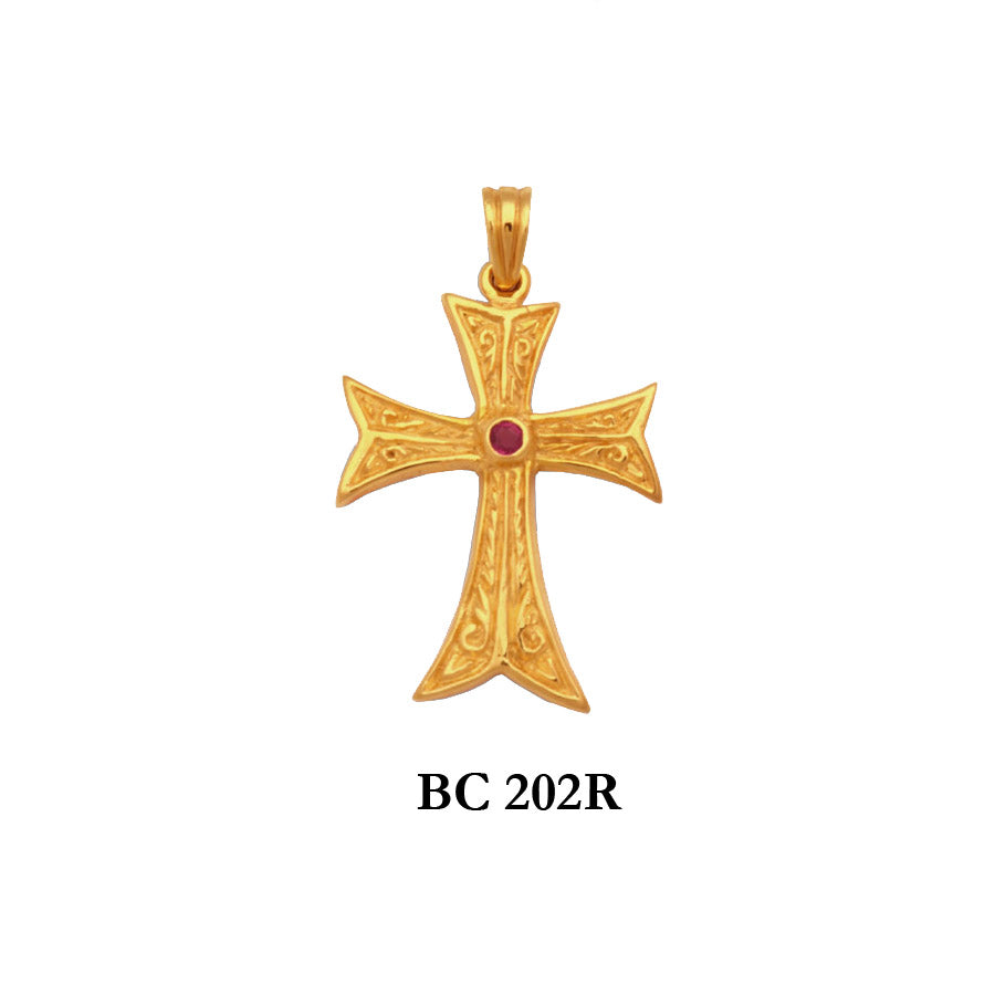 14K byzantine style hand engraved genuine ruby solid gold cross pendant