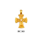 14K Yellow byzantine diamond detailed solid gold cross pendant