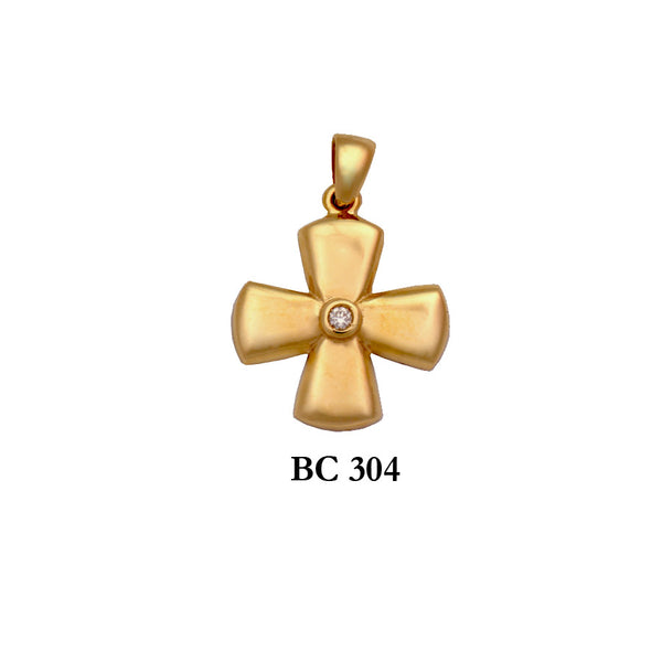 14K Yellow byzantine diamond solid gold cross pendant