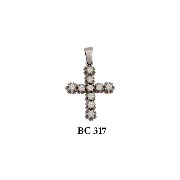 14K White byzantine diamond solid gold vintage cross pendant