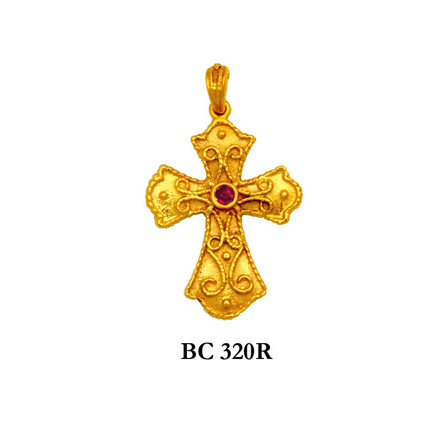 byzantine style genuine ruby solid gold cross pendant