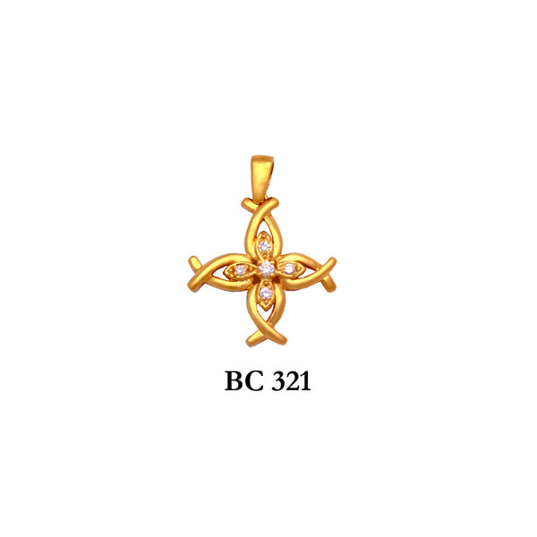 14K Yellow byzantine diamond free form solid gold cross pendant