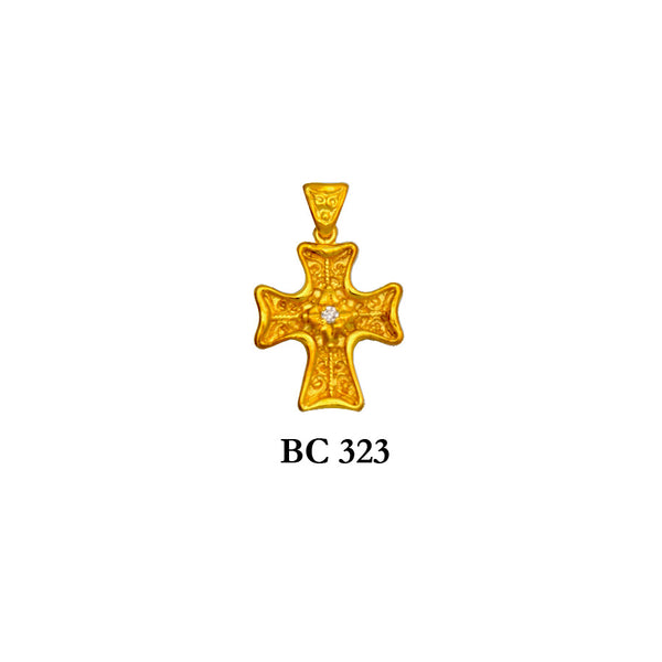 14K Yellow byzantine diamond textured solid gold cross pendant