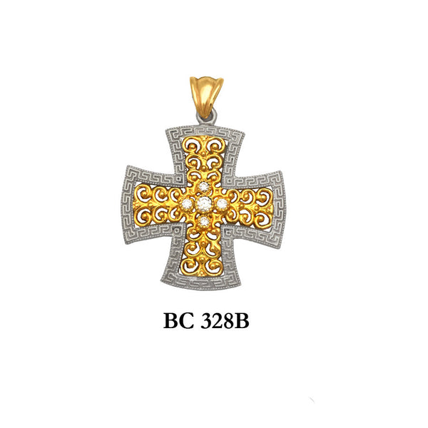 byzantine diamond designers 2-piece solid gold cross pendant