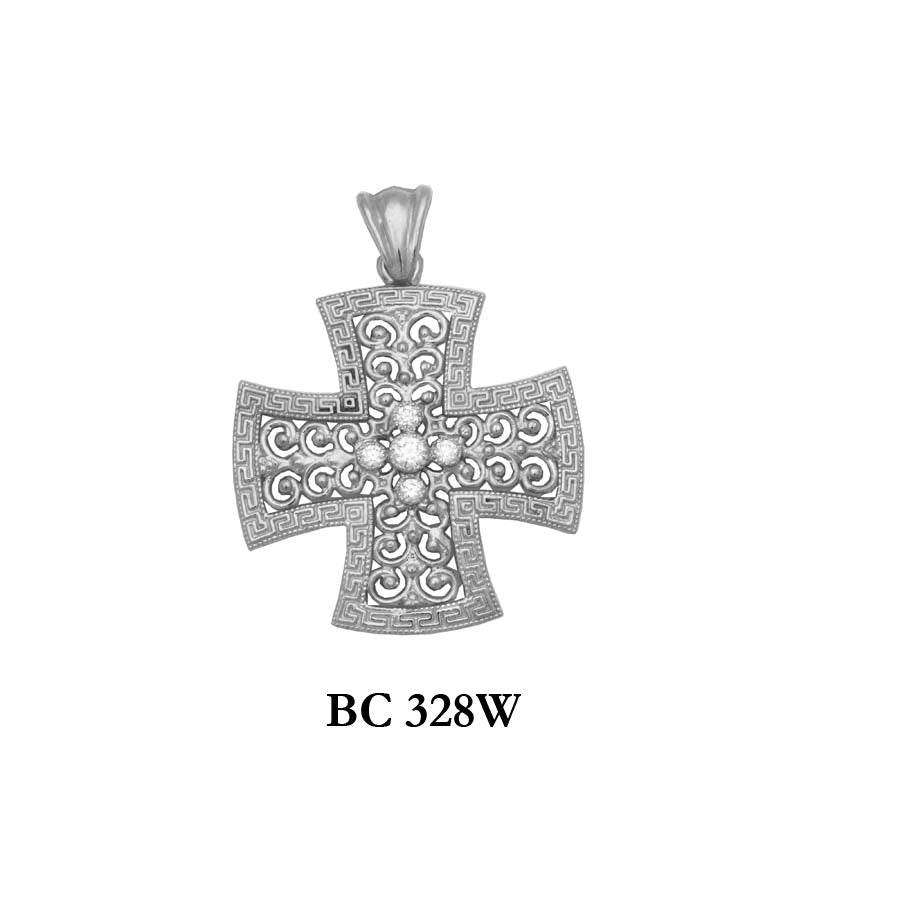 14K Solid White byzantine diamond designers gold cross pendant