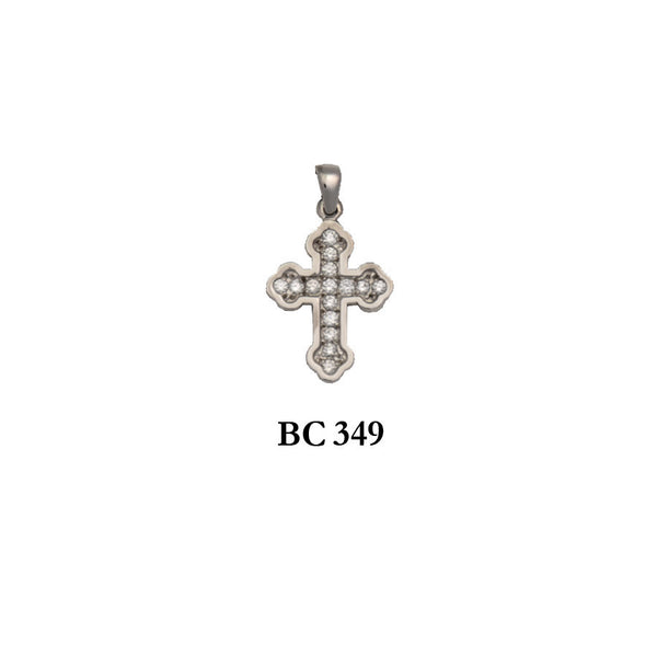 14K byzantine style diamond remarkable solid gold cross pendant