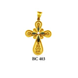 18K Yellow solid gold byzantine detailed cross pendant