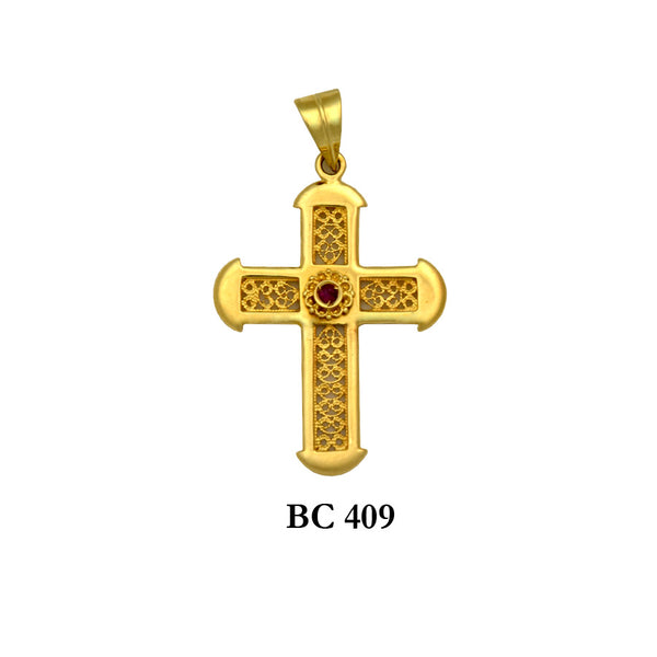 18K Yellow byzantine style detailed solid gold ruby cross