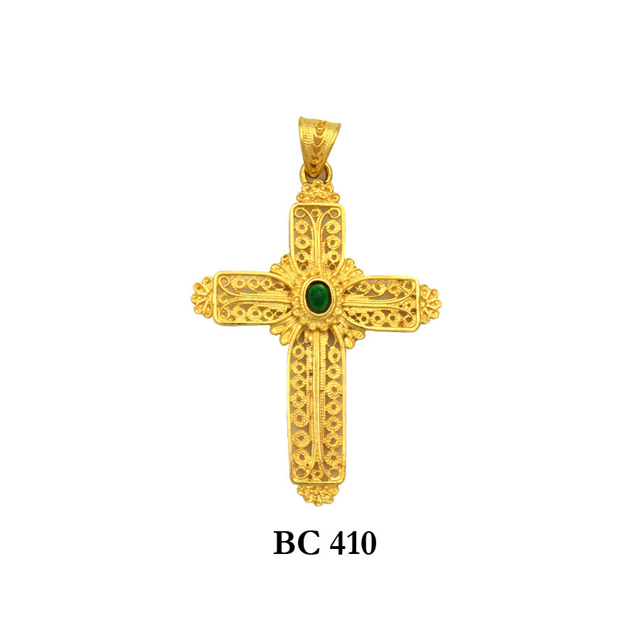 18K Solid Yellow gold byzantine style detailed filigree cross pendant