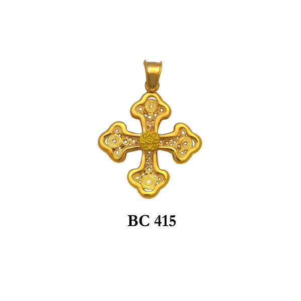 14K Yellow byzantine filigree style vintage solid gold cross pendant