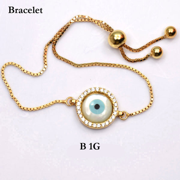 Bracelet: Sterling silver 925 gold plated evil eye bracelet with CZs