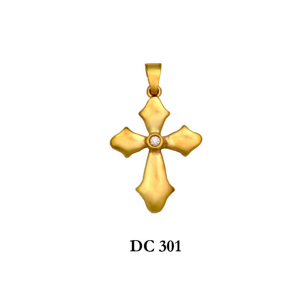 14K Solid gold diamond polished cross pendant