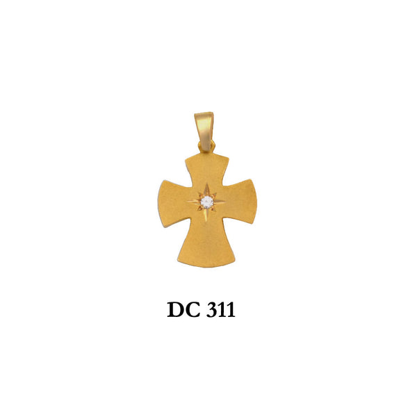 14K Solid gold diamond byzantine type cross pendant