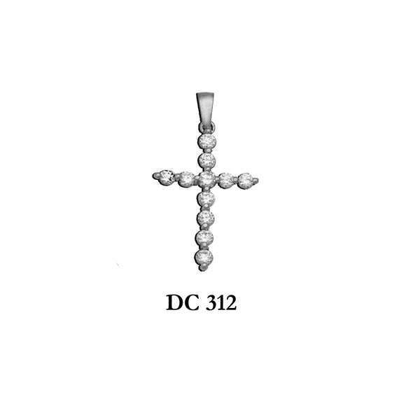14K Solid gold diamond ladies' graceful cross pendant