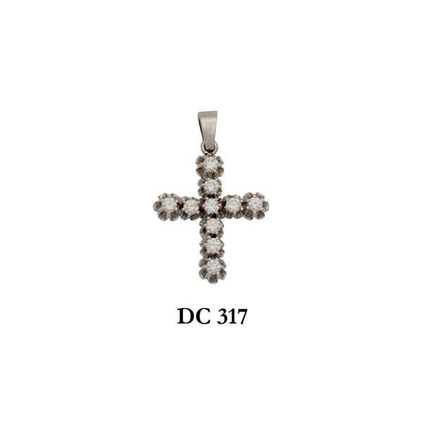14K Solid gold diamond ladies'cross pendant