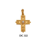 14K Solid gold diamond designers' textured cross pendant