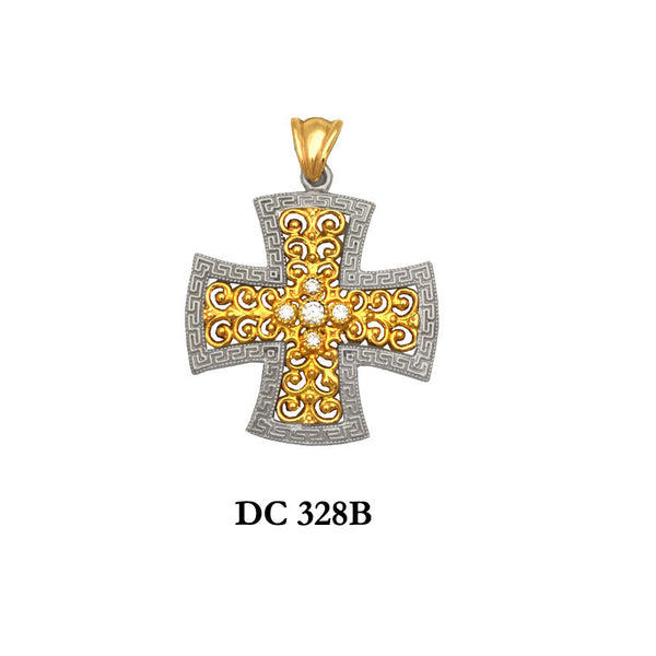 14K Solid gold diamond designers cross pendant