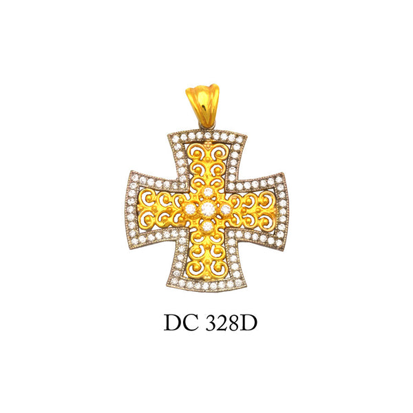 14K Solid gold diamond designer's cross pendant