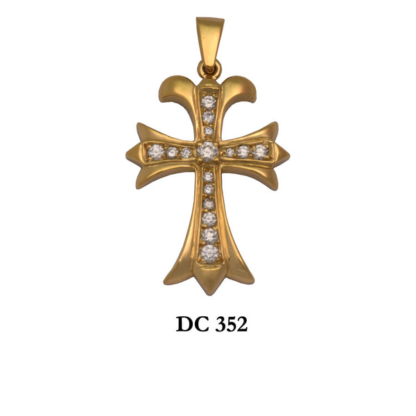 14K Solid gold diamond flattering cross pendant