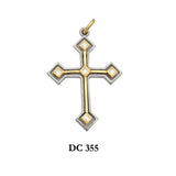 14K Solid gold modern type diamond cross pendant