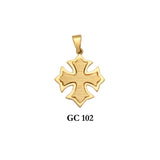 14K Solid gold byzantine style appealing cross pendant