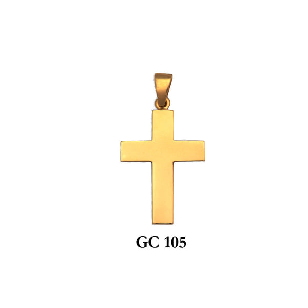 14K Solid gold high polished classic cross pendant