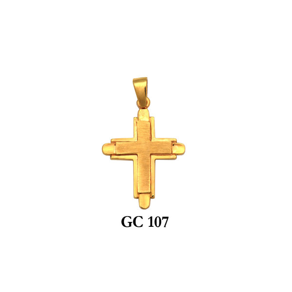 14K Solid gold two-piece cross pendant