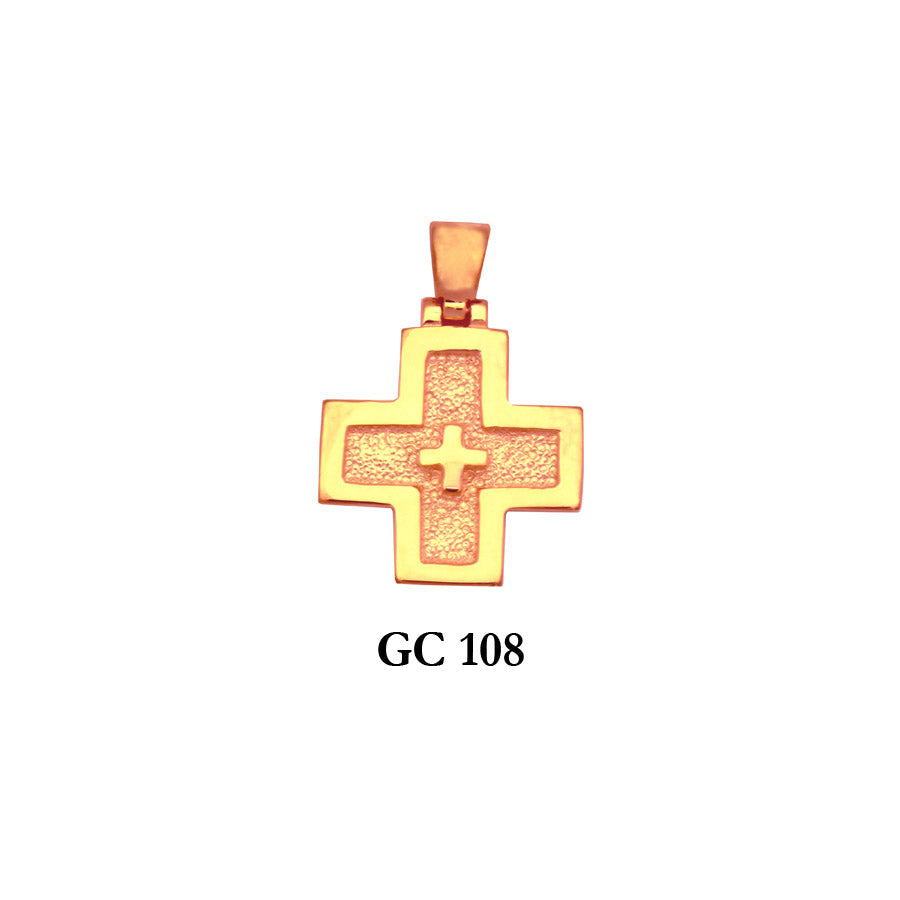 14k Solid gold detailed elegant cross pendant