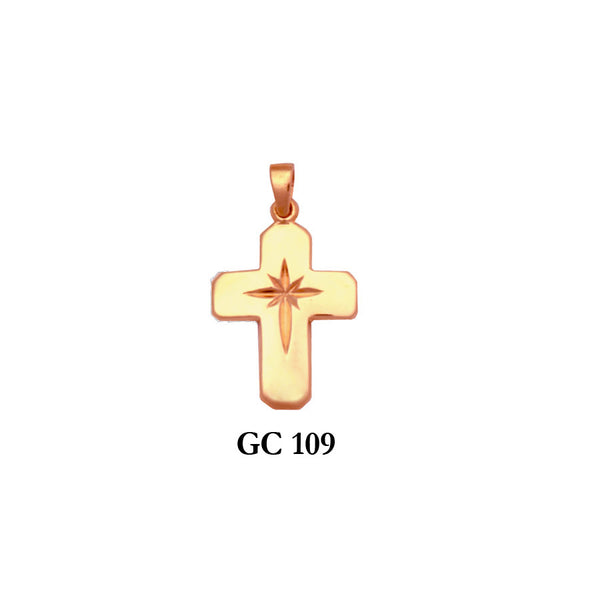 Solid gold polished cross pendant