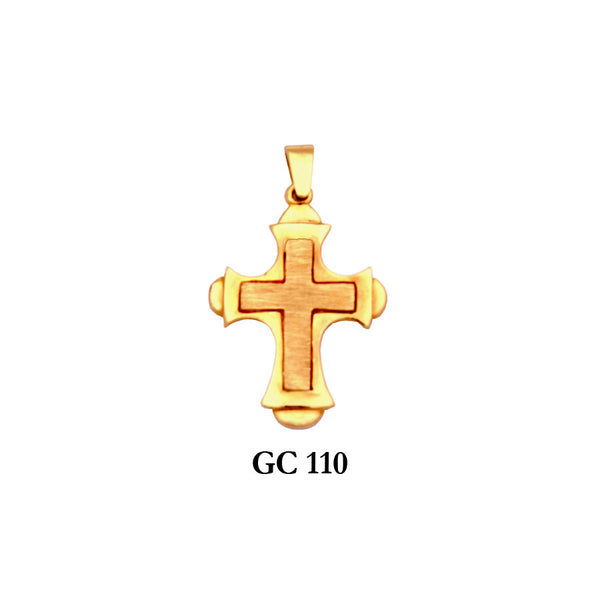 14K Solid gold 2-piece stylish cross pendant