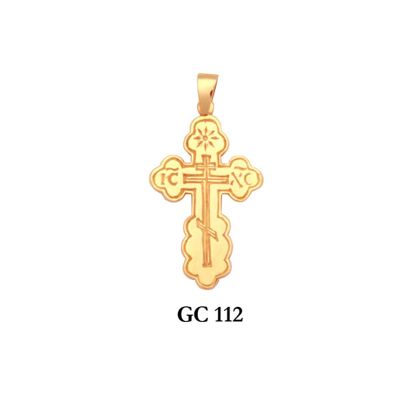 14K Solid gold detailed Eastern European cross pendant