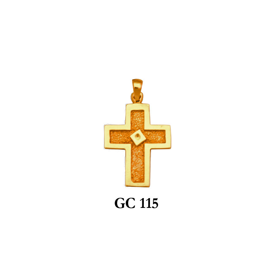 Solid gold detailed cross pendant