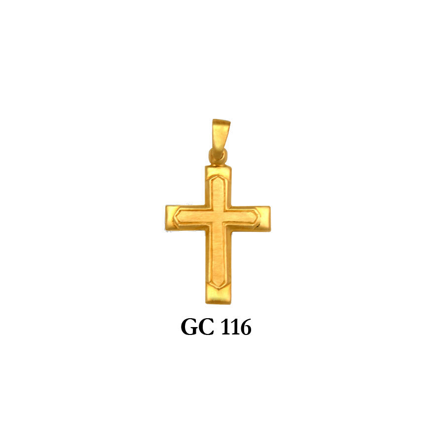 14K Solid gold satin and high polished cross pendant