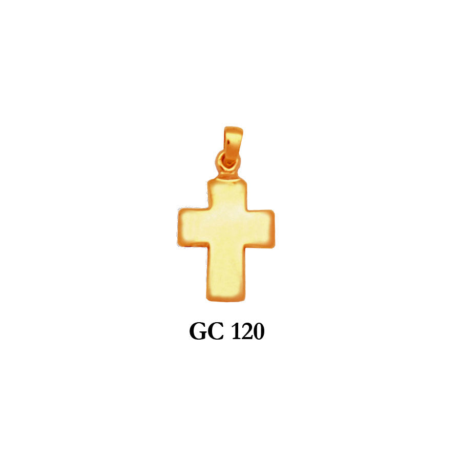 14K Solid gold classic polished cross pendant