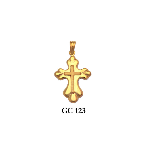14K Solid gold raised cross pendant