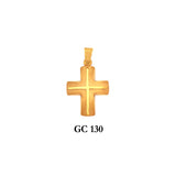14K Solid gold raised detail cross pendant
