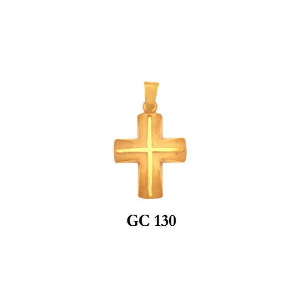 Solid gold raised detail cross pendant