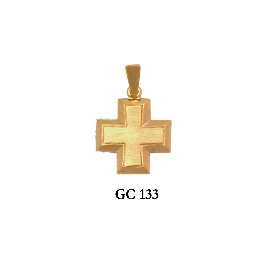 14K Solid gold raised design heavy cross