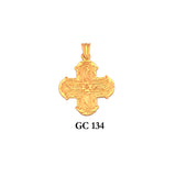 14K Solid gold byzantine style ornated cross pendant