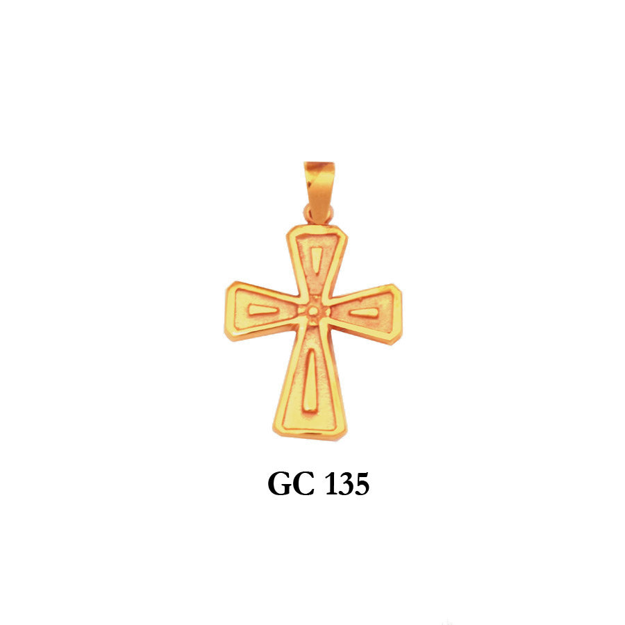 14K Solid gold captivating textured cross pendant