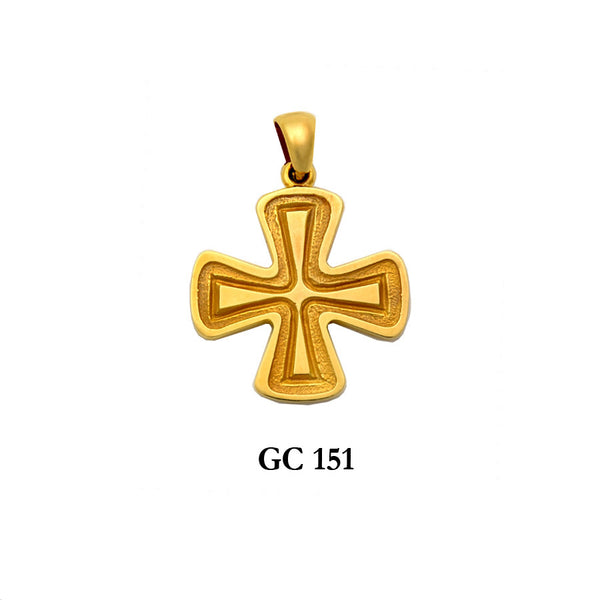 14K byzantine style graceful solid gold cross pendant
