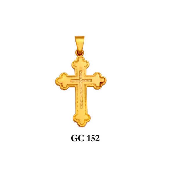 14K Solid gold recessed design cross pendant