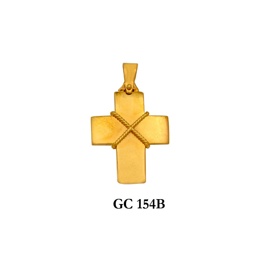 14K Solid gold glossy rope cross pendant