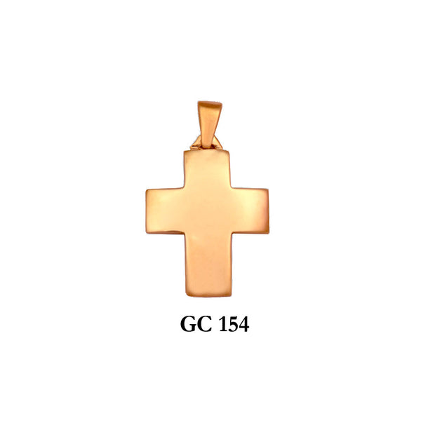 14K Solid gold graceful cross pendant