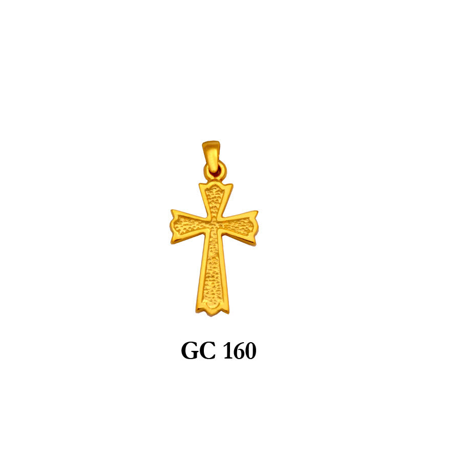 Solid gold textured cross pendant