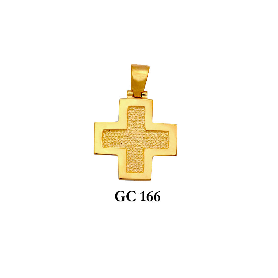 14K Solid gold textured modern style cross pendant