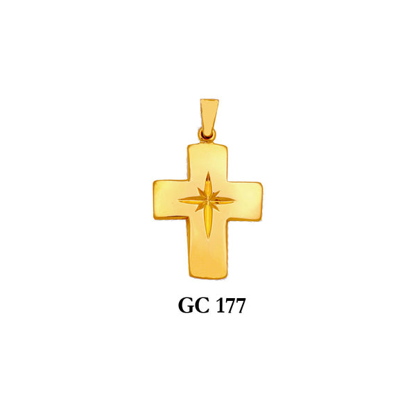 14K Solid gold polished cross pendant
